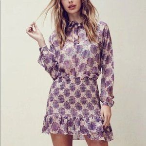 Liked New For love&lemons Purple Floral Dress XS